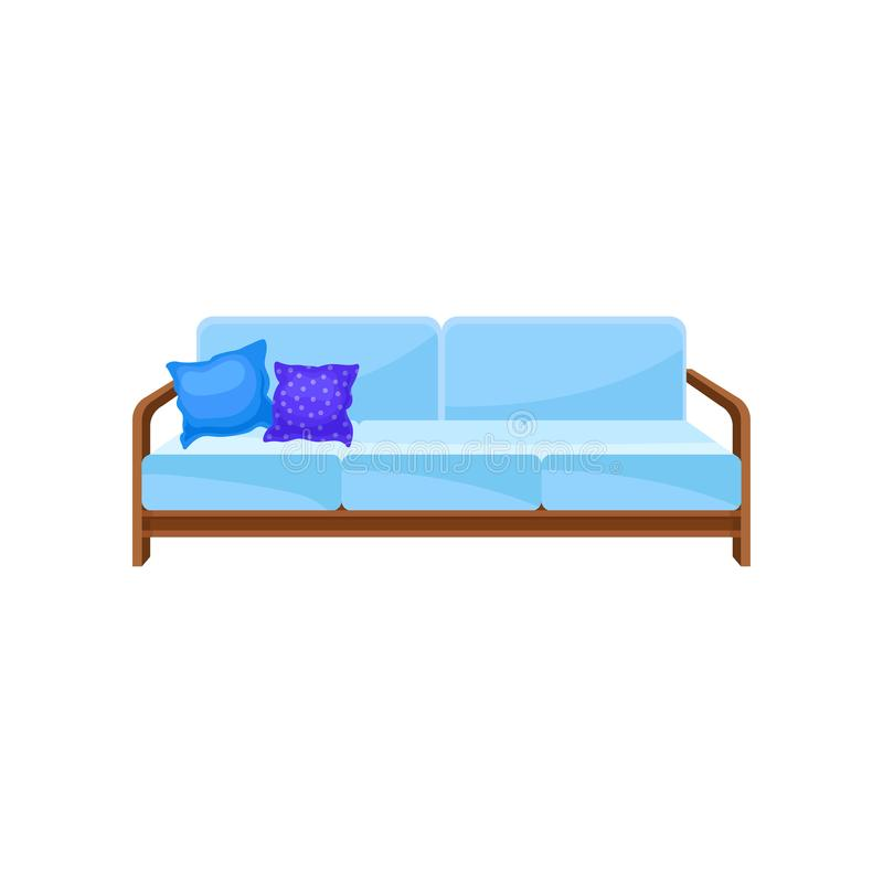有枕头的舒适的浅兰的沙发,客厅家具,室内设计元素在白色的传染媒介例证 皇族释放例证