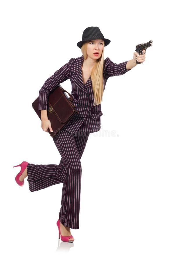 有枪的妇女匪徒 免版税图库摄影