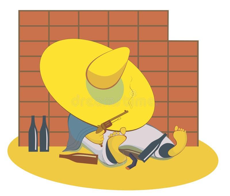 有枪的酒醉人在墙壁附近说谎 向量例证