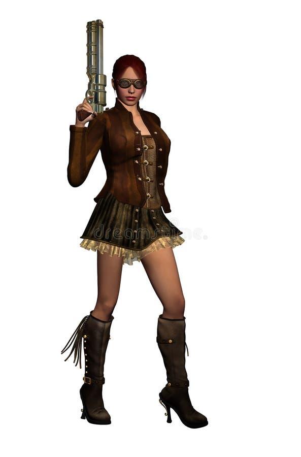 有枪的Steampunk妇女 库存例证