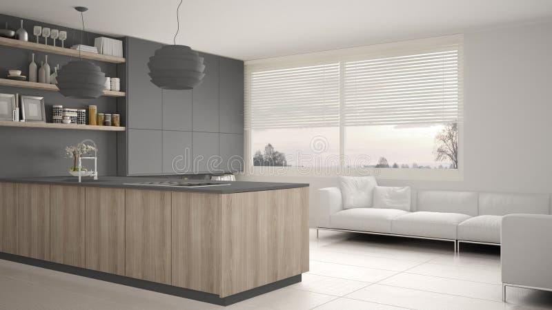 有架子的现代灰色和木厨房和内阁、沙发和全景窗口 当代客厅,最低纲领派architec 向量例证