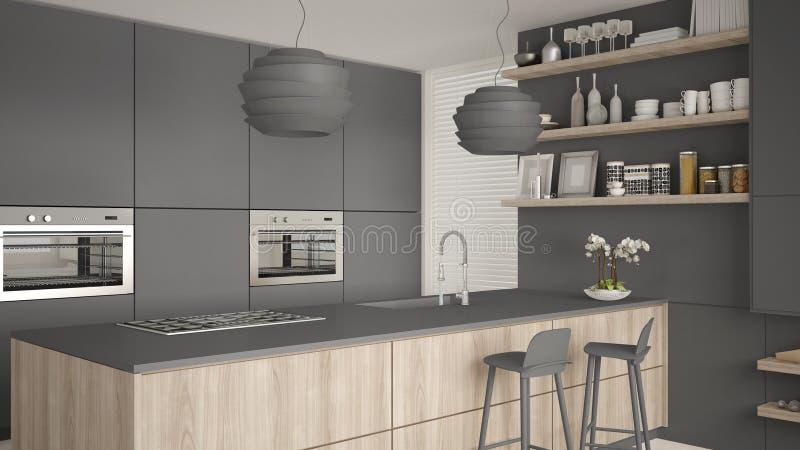 有架子的现代灰色和木厨房和内阁,有凳子的海岛 当代客厅,最低纲领派建筑学 向量例证