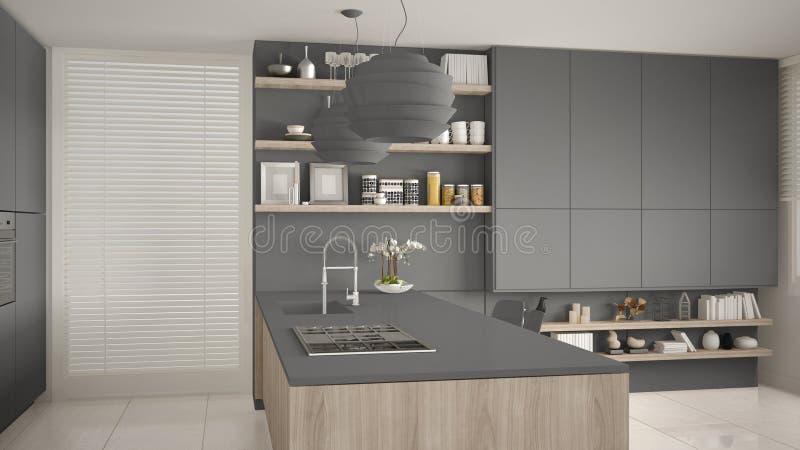 有架子的现代灰色和木有煤气炉的厨房和内阁,海岛和水槽 当代客厅,最低纲领派 向量例证