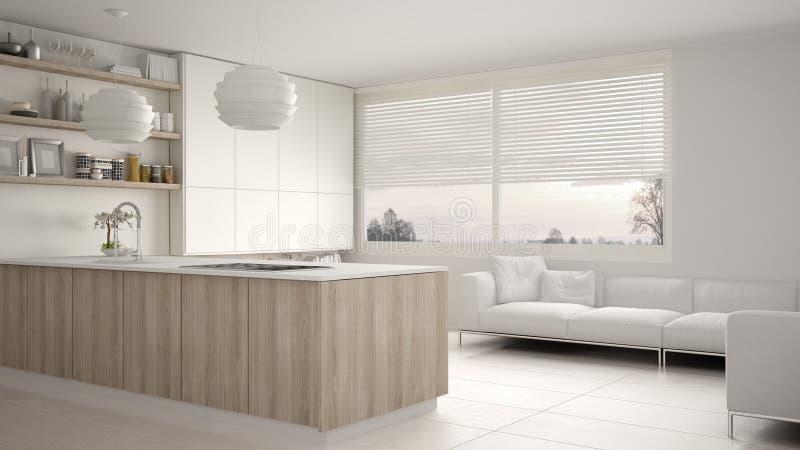 有架子的现代白色和木厨房和内阁、沙发和全景窗口 当代客厅,最低纲领派archite 库存例证
