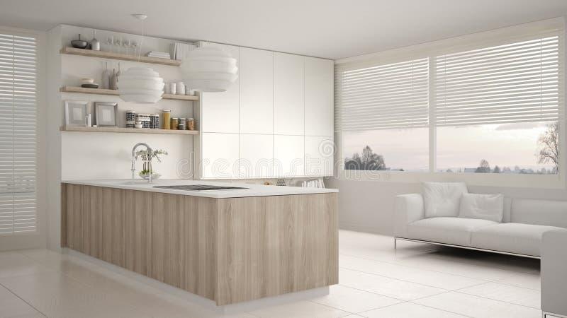 有架子的现代白色和木厨房和内阁、沙发和全景窗口 当代客厅 向量例证