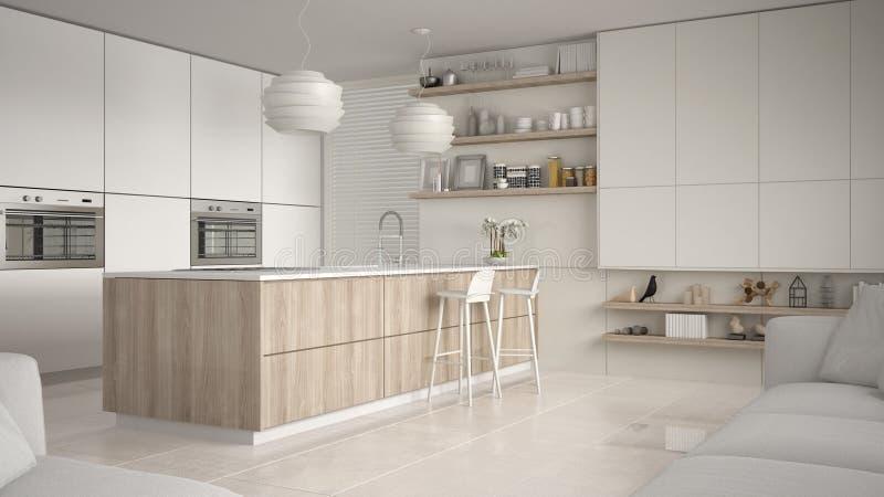 有架子的现代白色和木厨房和内阁,有凳子的海岛 当代客厅,最低纲领派建筑学 皇族释放例证