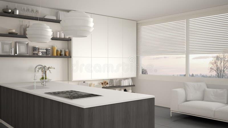 有架子的现代白色和灰色厨房和内阁、沙发和全景窗口 当代客厅 皇族释放例证