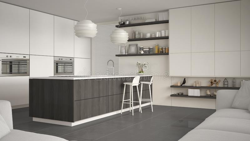 有架子的现代白色,灰色和木厨房和内阁,有凳子的海岛 当代客厅,最低纲领派 库存例证