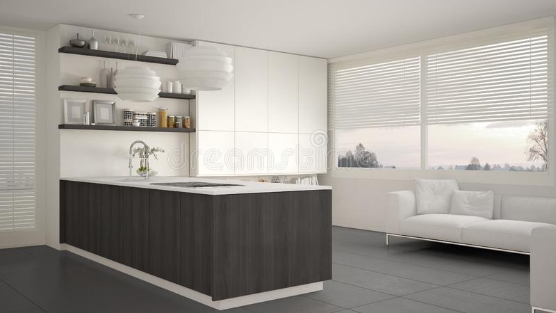 有架子的现代白色,灰色和木厨房和内阁,沙发和全景窗口 当代客厅 向量例证