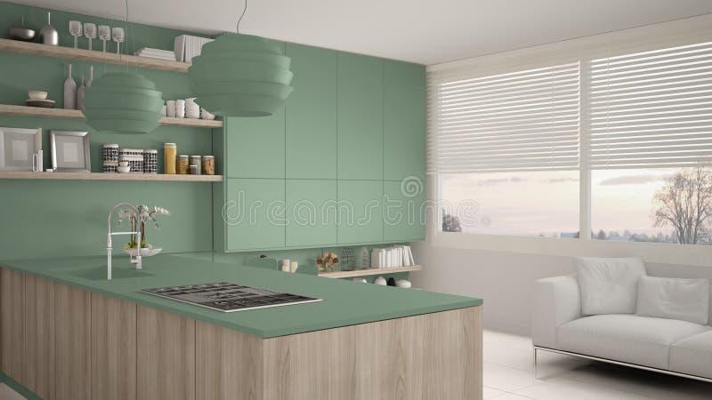 有架子的现代绿色和木厨房和内阁、沙发和全景窗口 当代客厅,最低纲领派 库存例证