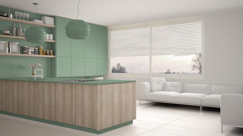 有架子的现代绿色和木厨房和内阁、沙发和全景窗口 当代客厅,最低纲领派archite 库存例证