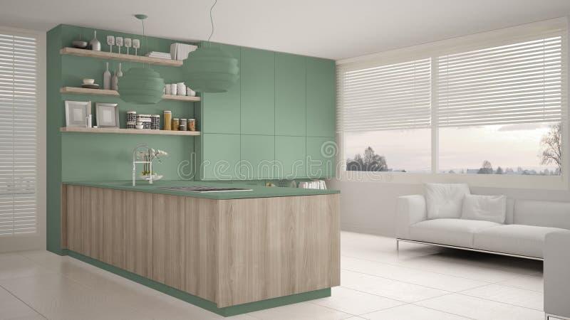 有架子的现代绿色和木厨房和内阁、沙发和全景窗口 当代客厅 皇族释放例证