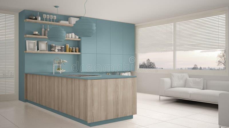 有架子的现代蓝色和木厨房和内阁、沙发和全景窗口 当代客厅,最低纲领派architec 库存例证