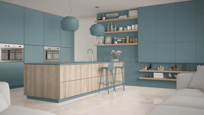 有架子的现代蓝色和木厨房和内阁,有凳子的海岛 当代客厅 向量例证