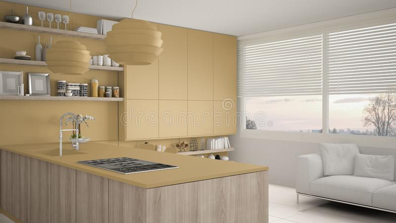 有架子的现代黄色和木厨房和内阁、沙发和全景窗口 当代客厅,最低纲领派 皇族释放例证