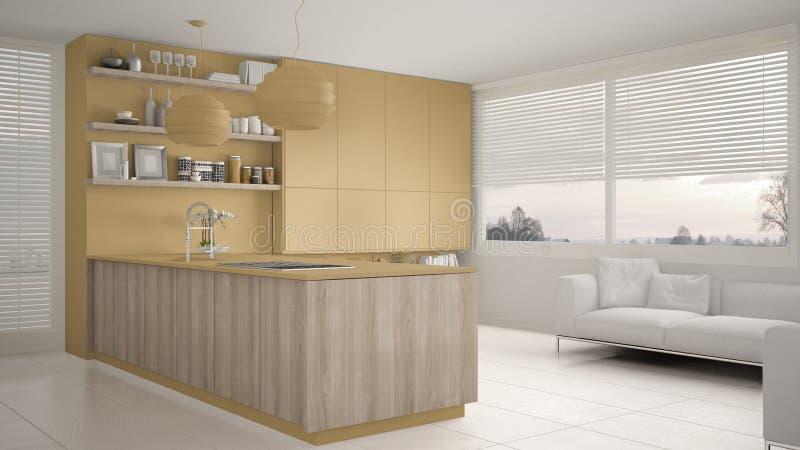 有架子的现代黄色和木厨房和内阁、沙发和全景窗口 当代客厅,最低纲领派archit 皇族释放例证