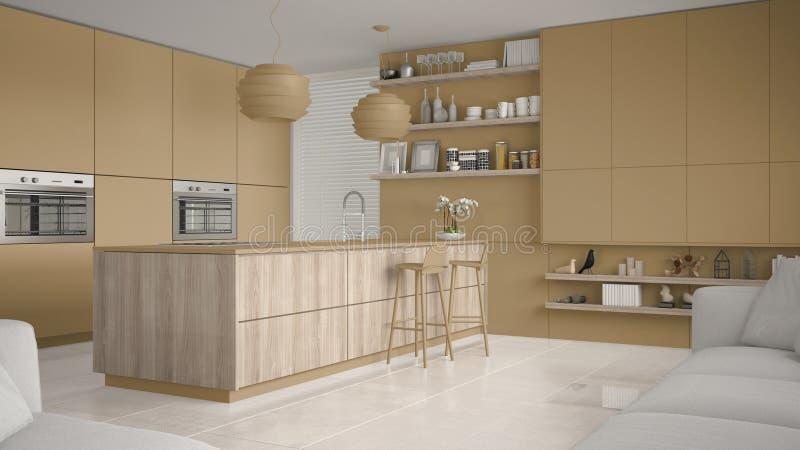 有架子的现代黄色和木厨房和内阁,有凳子的海岛 当代客厅 库存例证