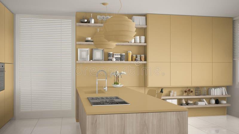 有架子的现代黄色和木有煤气炉的厨房和内阁,海岛和水槽 当代客厅,最低纲领派 库存例证