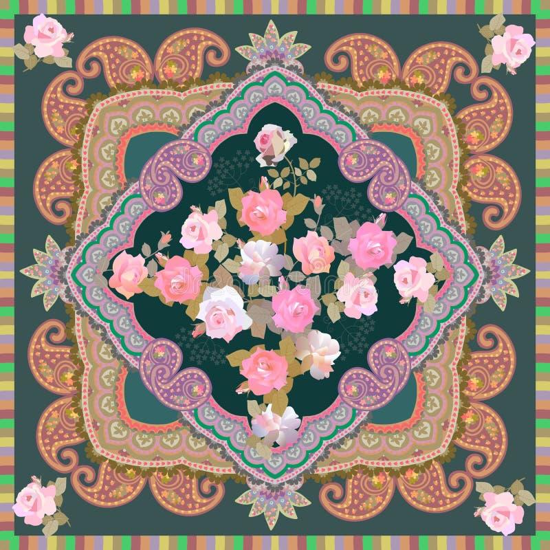 有柔和的桃红色玫瑰和佩兹利装饰品花束的豪华披肩在无背长椅样式 印度,俄国,波斯主题 皇族释放例证