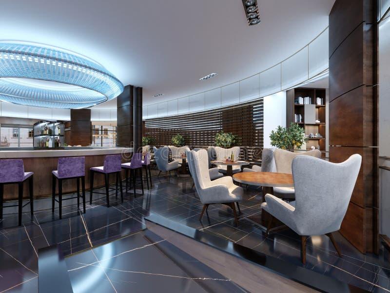 有柜台的酒吧餐馆在现代风格 库存例证