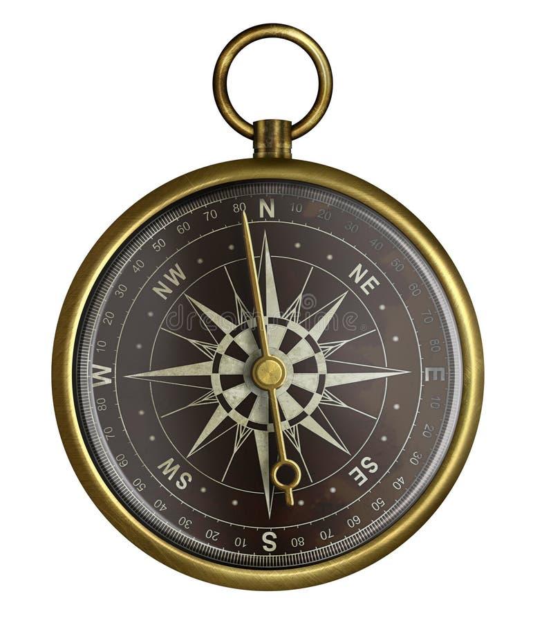 有查出的黑暗的表面的老黄铜古色古香的指南针 库存例证