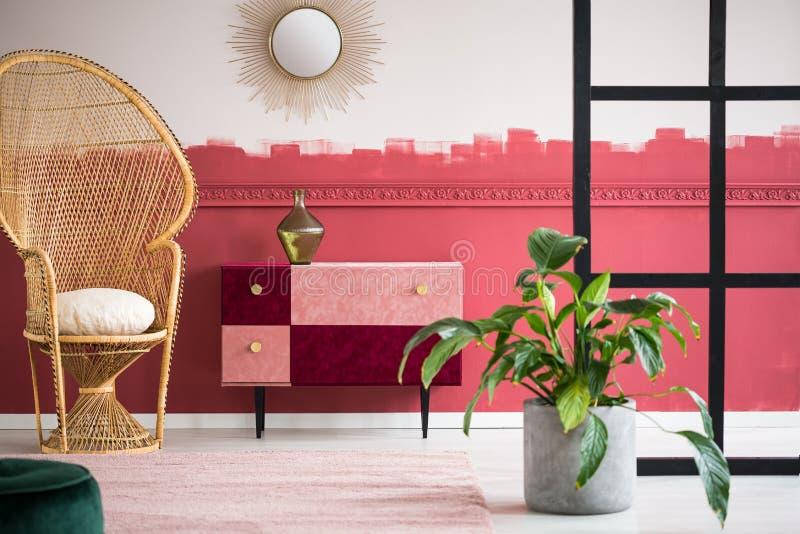 有柳条孔雀椅子和手工制造粉红彩笔的时髦客厅和伯根地五斗橱 库存图片