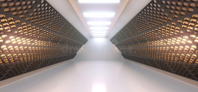 有栅格滤网墙壁和光的现实空的白色走廊 皇族释放例证