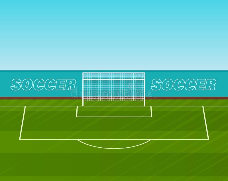 有栅格的橄榄球门在草坪,现实运动场体育场 库存例证