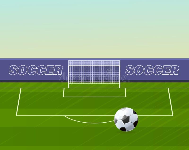 有栅格的橄榄球门在草坪,现实运动场体育场 皇族释放例证