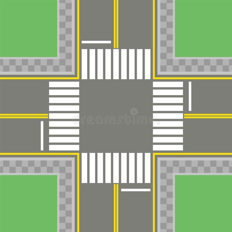有标号的,走道空的沥青交叉路 皇族释放例证