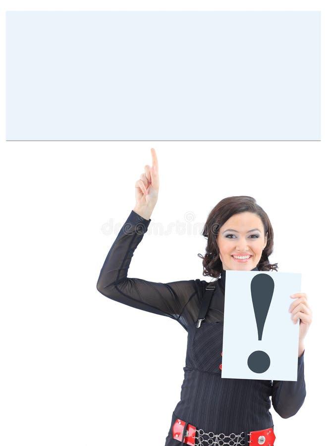 有标志惊叹号的女实业家 免版税图库摄影