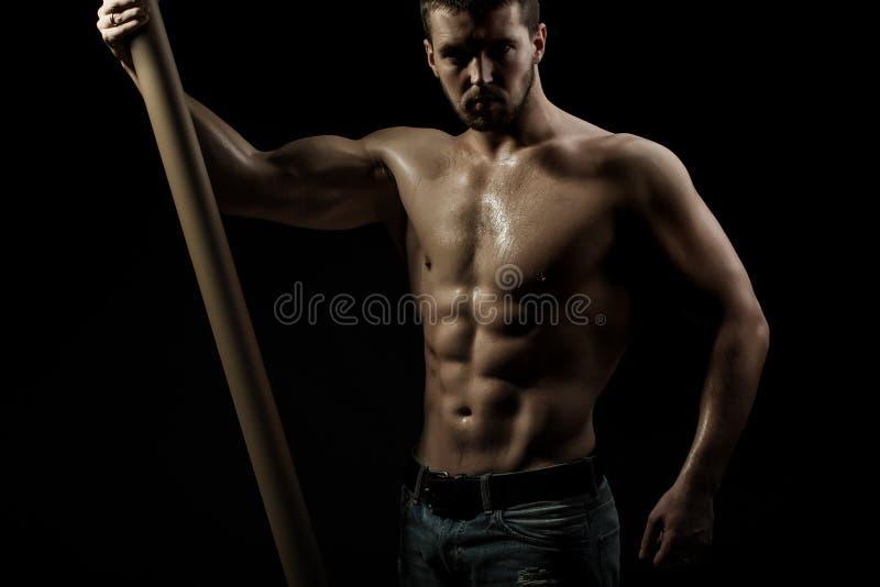 有标志横线的肌肉人 免版税库存图片