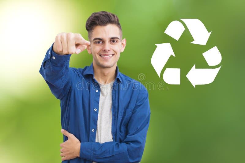 有标志的人回收 免版税库存图片