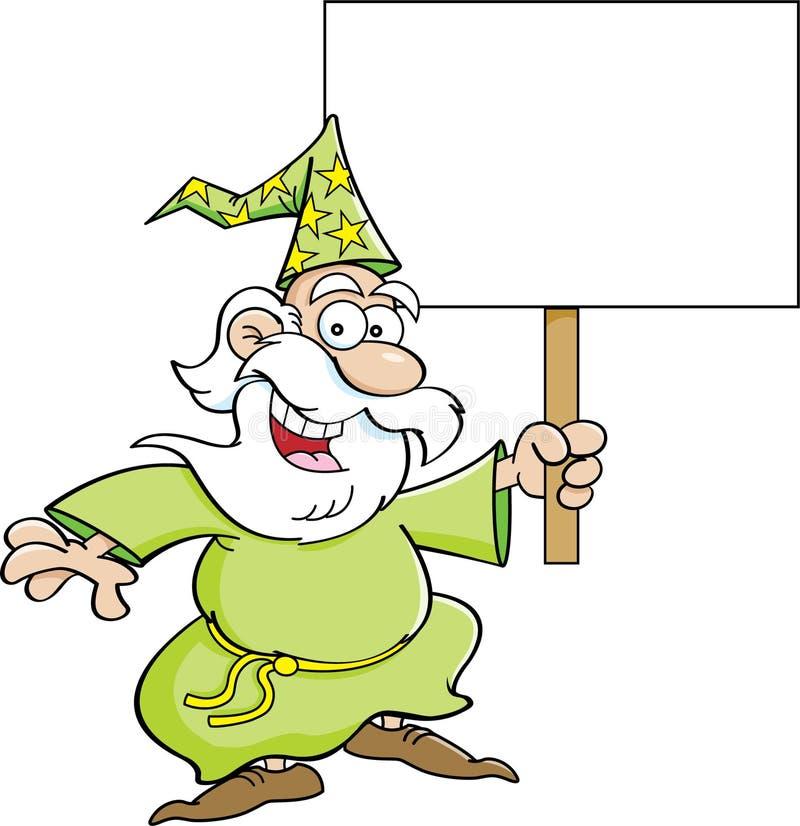有标志的动画片巫术师 向量例证