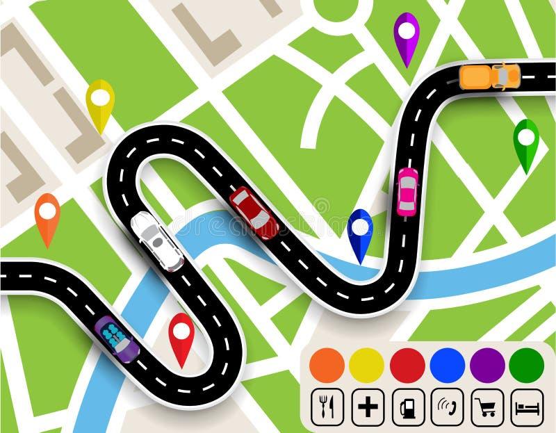 有标志的弯曲道路 所有背景更改城市上色无缝的映射选择分隔的样片向量的容易的单元文件层 车的运动 道路指定导航员 例证 向量例证