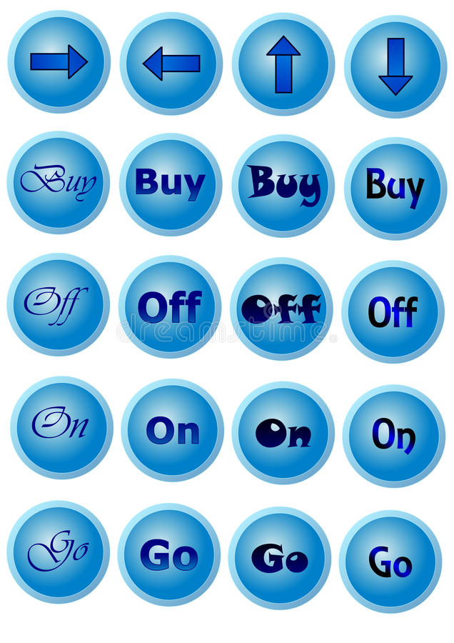 有标志的蓝色按钮 库存照片