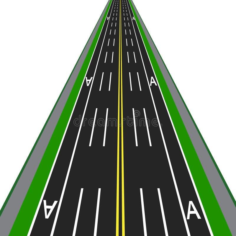有标注的直路高速公路 公共交通工具例证的热忱的车道 皇族释放例证