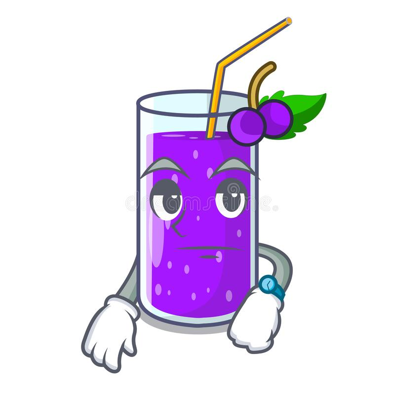 有标签动画片的等待的葡萄汁瓶 向量例证