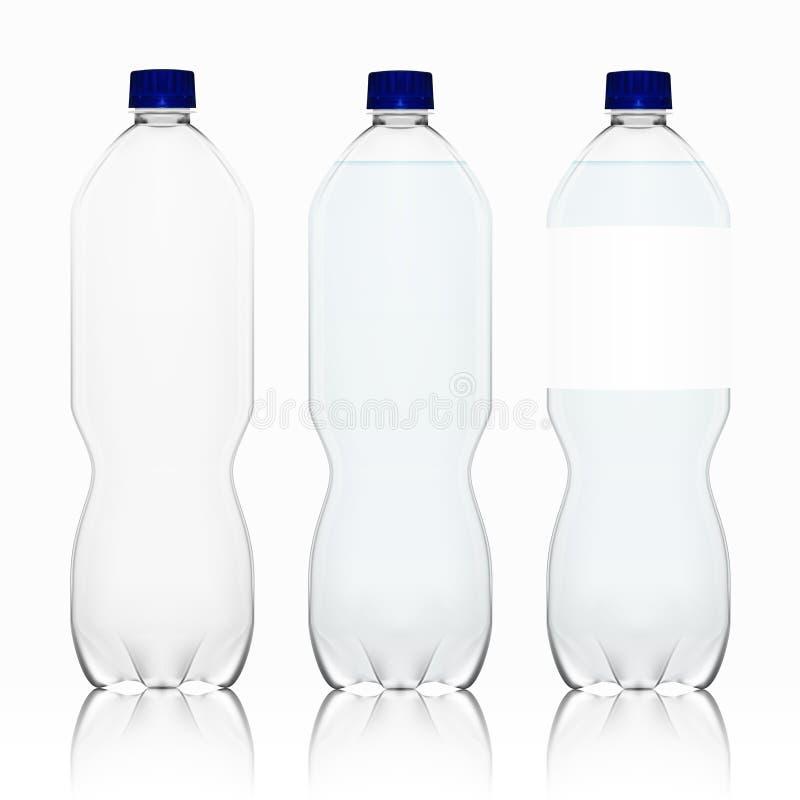 有标签占位符模板的现实透明空的干净的塑料瓶 皇族释放例证