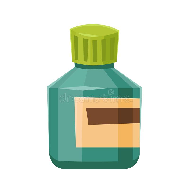 有标签的医学瓶药物片剂的压缩在白色背景隔绝的处方维生素 库存例证
