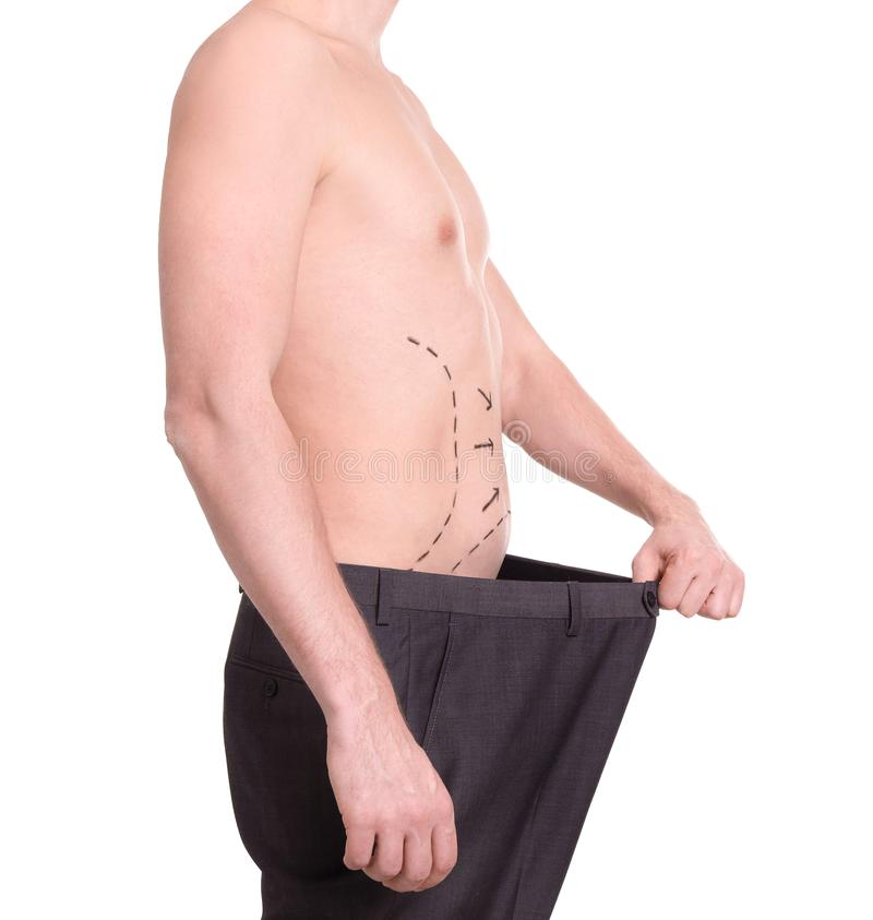 有标记的年轻人在腹部 库存图片