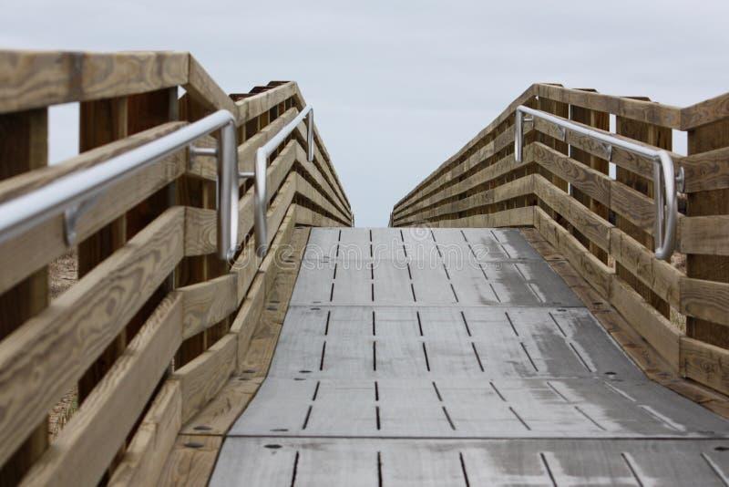 有栏杆的一个木走道 免版税库存照片