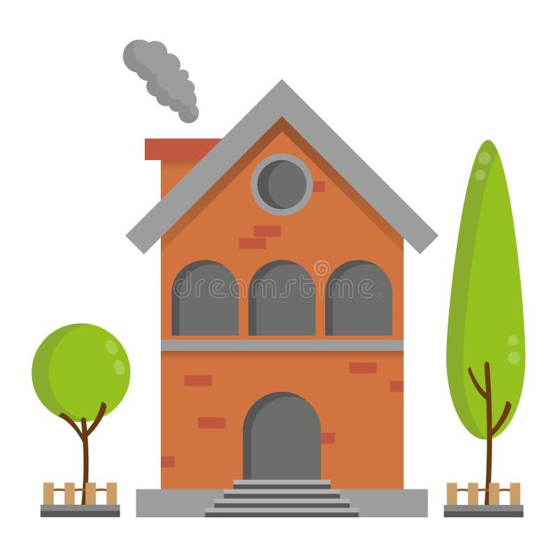 有树传染媒介大厦的平的住宅砖房子 库存例证