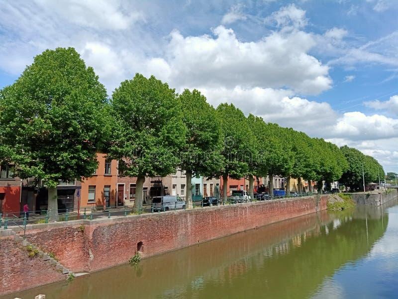 有树和天空蔚蓝的运河 免版税库存图片