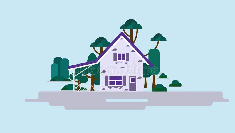 有树和灌木的一个童话当中房子在轻的背景,传染媒介例证 紫罗兰色时尚背景 库存例证