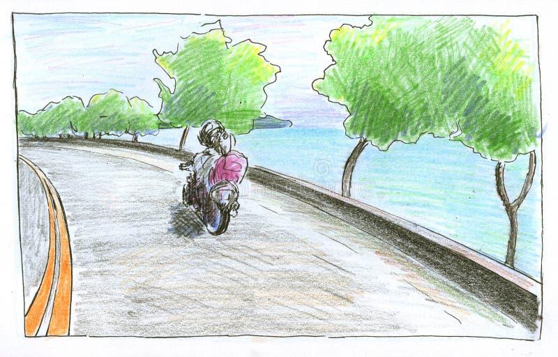 有树和自行车的海边路 手拉的例证seaview 夏天旅行路风景铅笔剪影 皇族释放例证