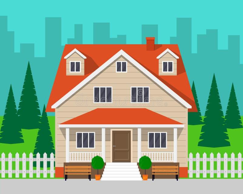 有树和路的经典村庄房子 私有房子和城市背景的 传染媒介例证,平的样式 库存例证