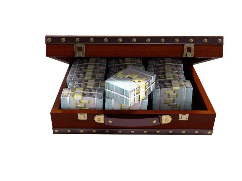 有树的布朗开放手提箱与捆绑金钱前面图3 皇族释放例证
