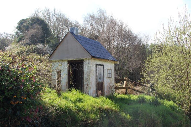 有树的老遗弃小屋 免版税库存照片