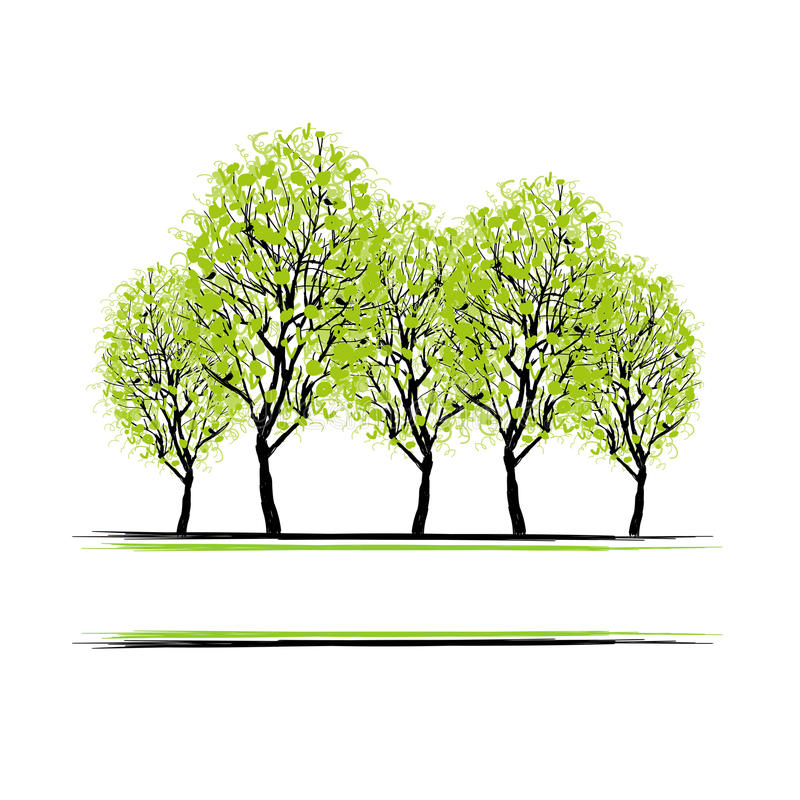 有树的绿色树丛您的设计的 向量例证
